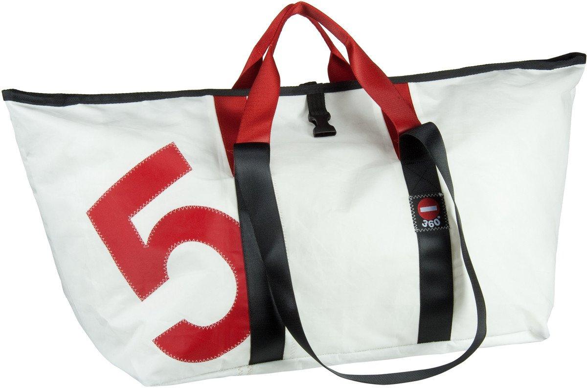 360 Grad Segeltuchtasche Schlepper XL weiß mit Zahl rot Reisetasche