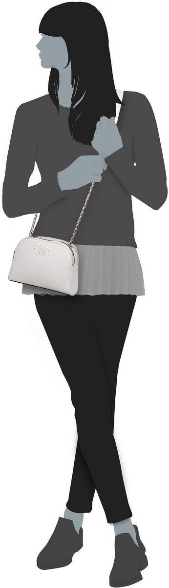 GUESS Logo Love Crossbody Top Zip Umhängetasche Tasche Ivory Weiß Neu