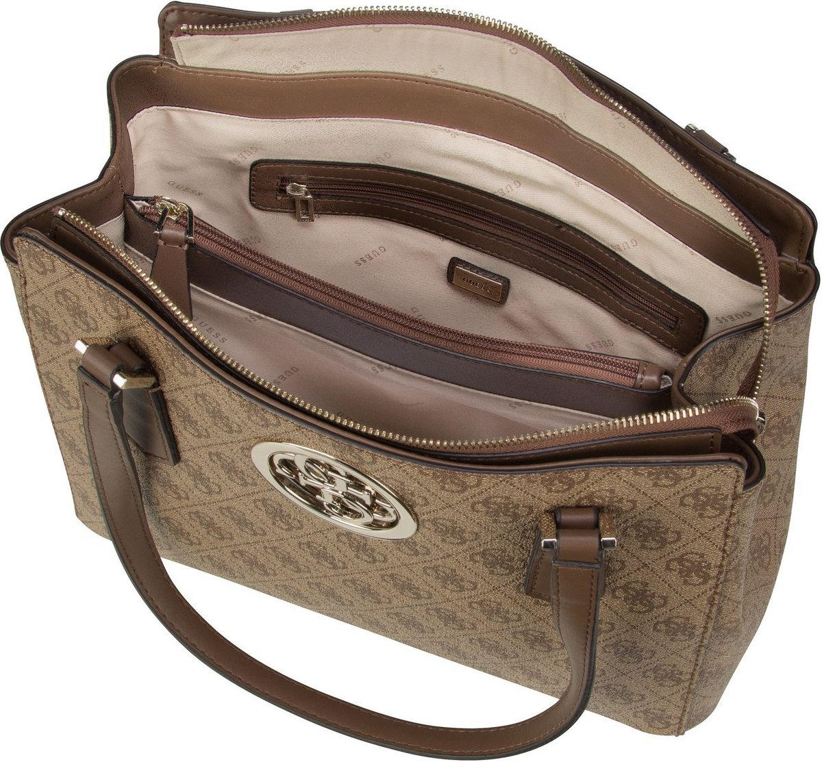 Guess Open Road Luxury Satchel Brown