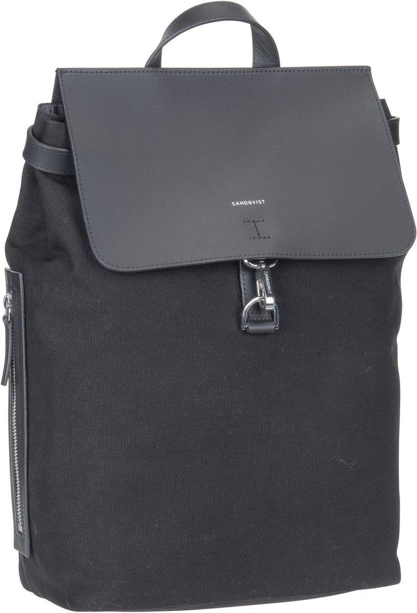 Rucksaecke - Sandqvist Rucksack Daypack Alva Metal Hook Backpack Black Black Leather (11 Liter)  - Onlineshop Taschenkaufhaus