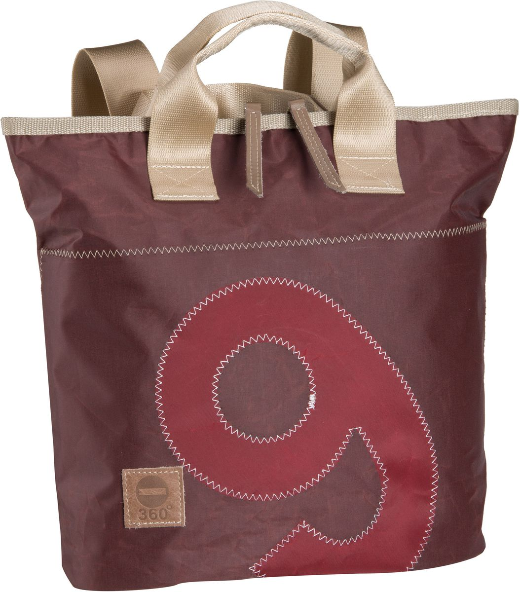 Rucksaecke für Frauen - 360Grad Rucksack Daypack Rucksacktasche Mini Braun mit roter Zahl  - Onlineshop Taschenkaufhaus