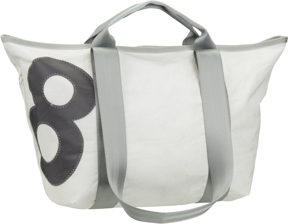Handtasche Schlepper Mini Weiß mit grauer Zahl