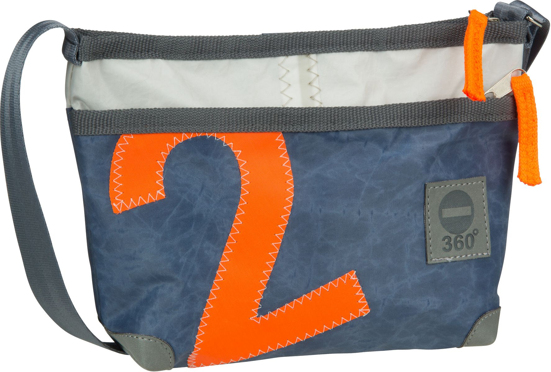 Umhängetasche Deern Lütt Blau mit oranger Zahl