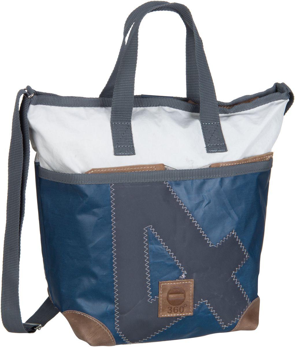 Handtasche Deern Mini Blau/Weiß mit grauer Zahl