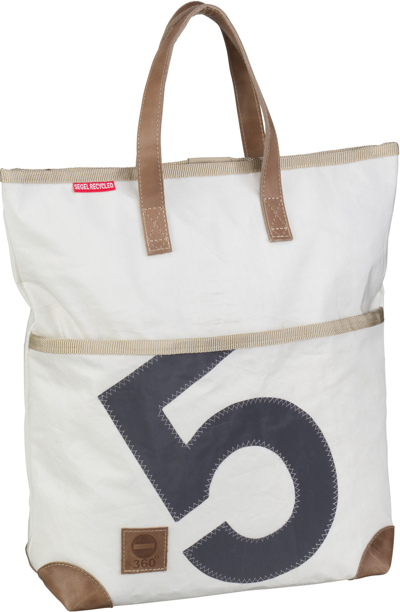 Handtasche Kajüte Weiß mit grauer Zahl (13 Liter)