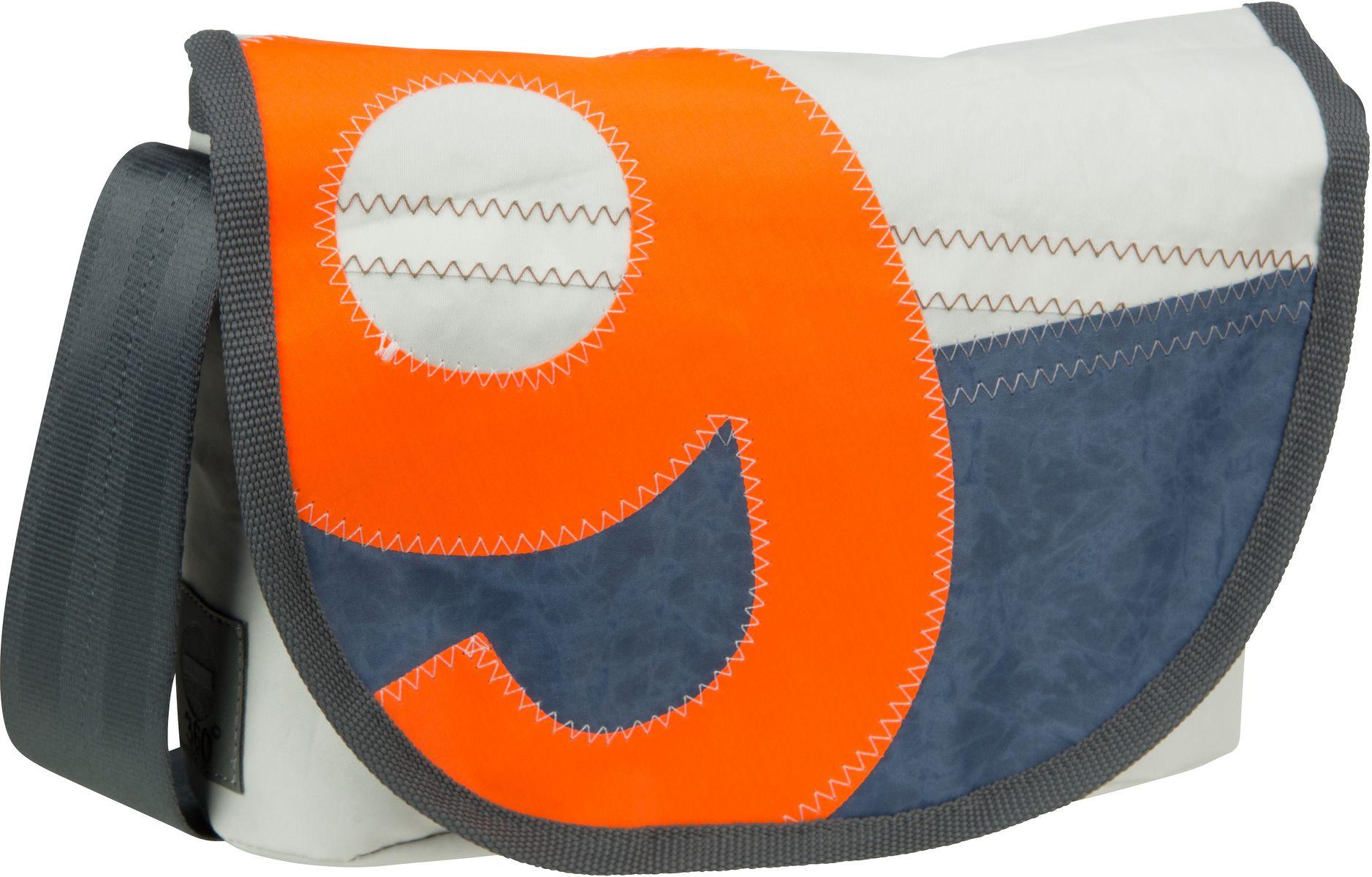 Umhängetasche Perle Blau mit oranger Zahl