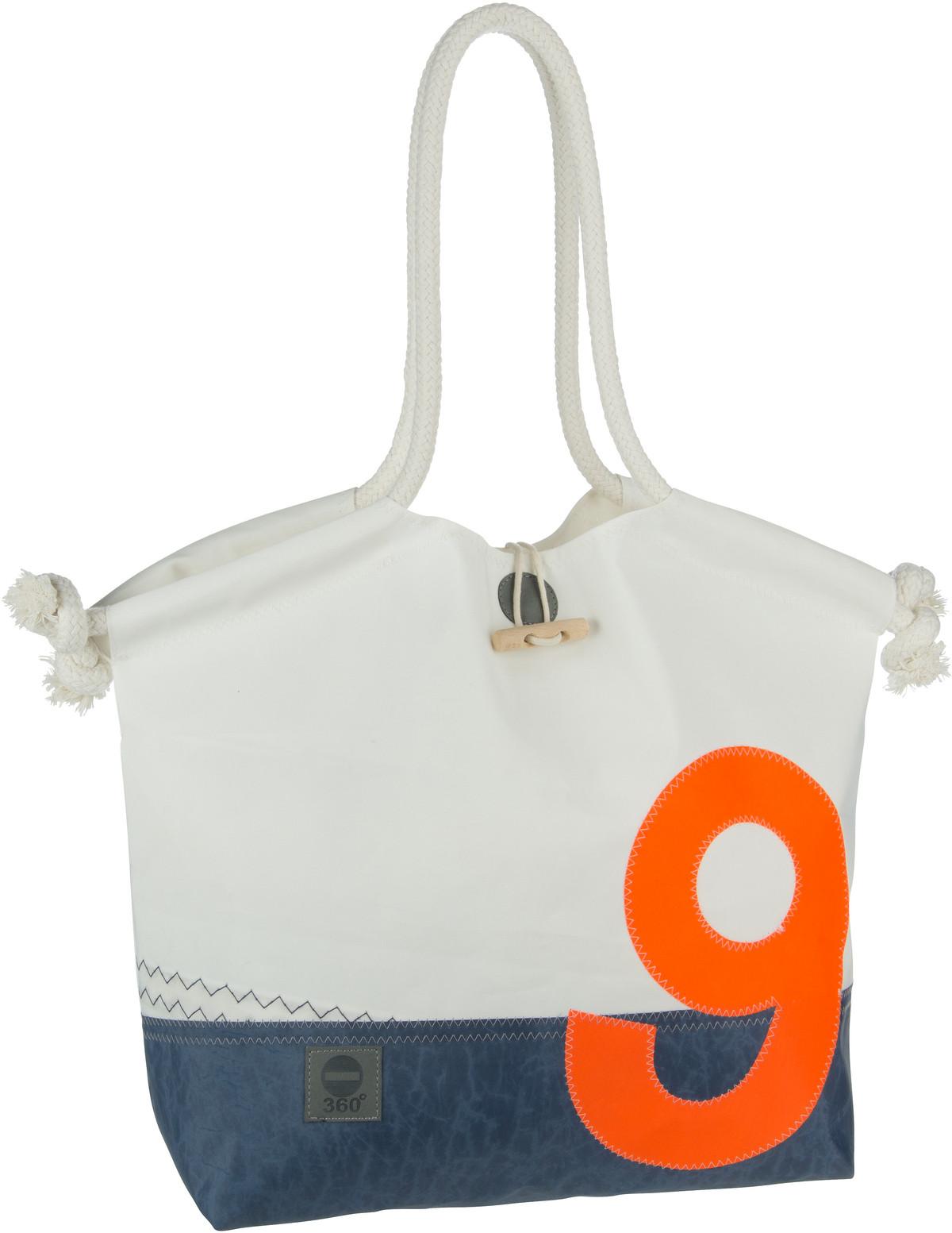 Handtasche Muschel Blau mit oranger Zahl