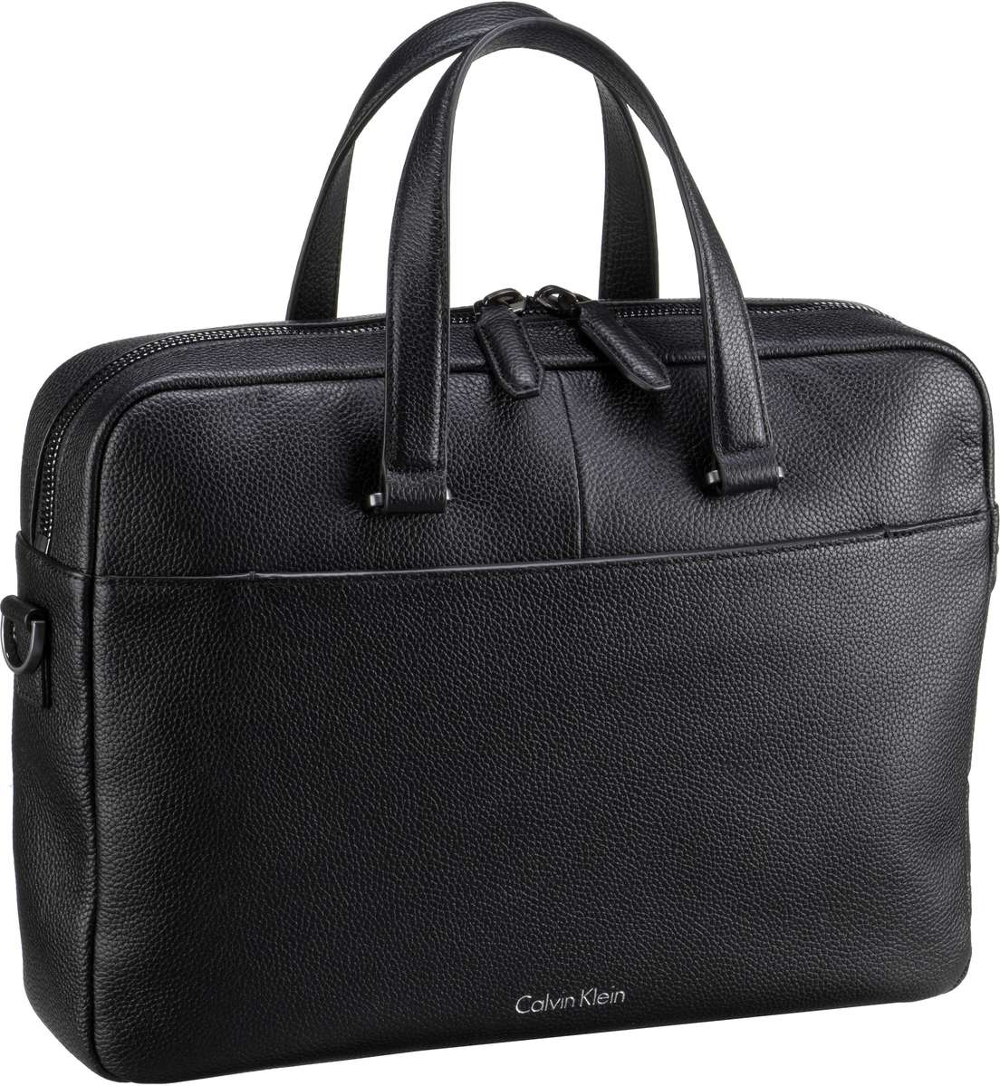 Calvin Klein Basic Leather Slim Laptop Bag Blac...
