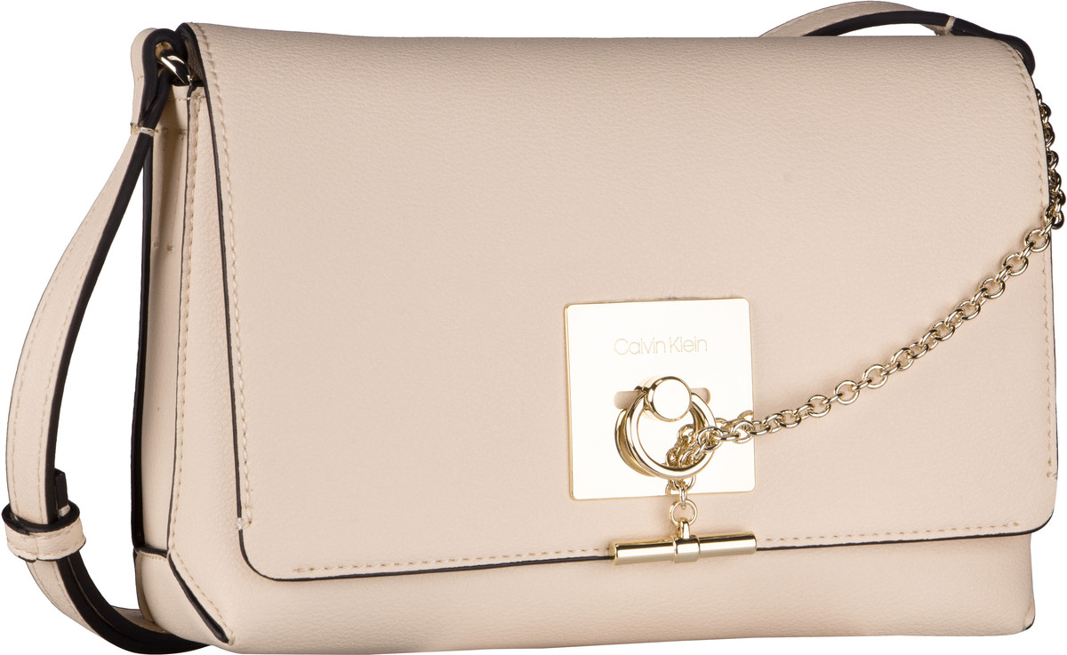 Umhängetasche CK Lock Medium Flap Crossbody Light Sand