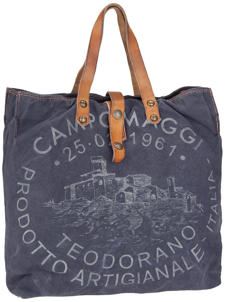 Handtasche Lambro Canvas Bag Small Blu/Naturale