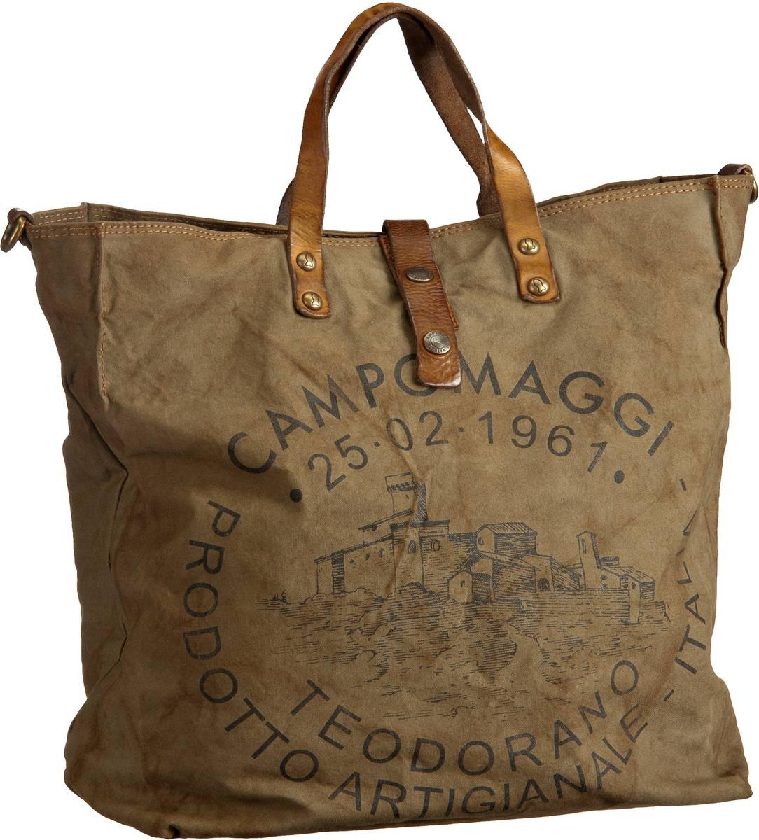Campomaggi Sesia Canvas Bag Militare/Stampa Nera - Handtasche Sale Angebote Gastrose-Kerkwitz