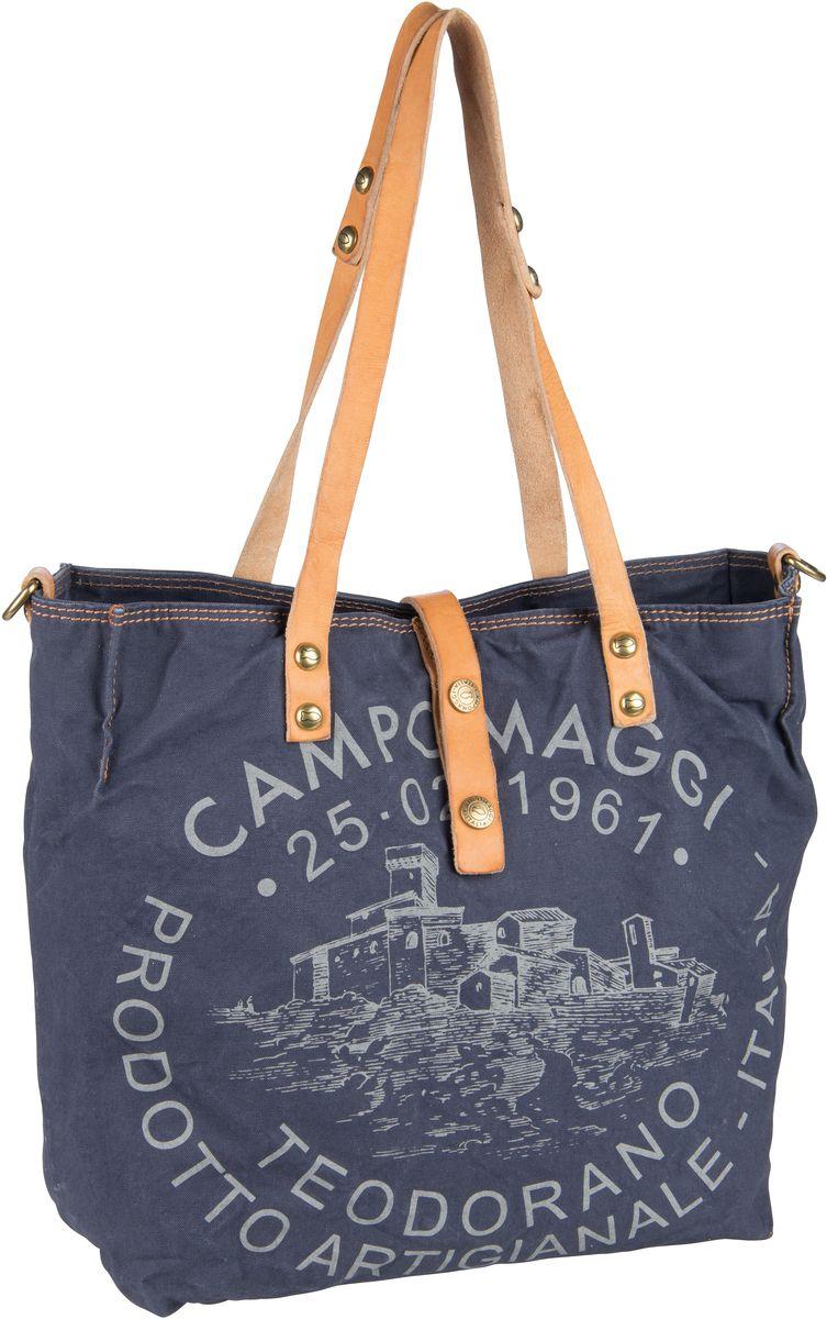 Handtasche Shopper C1671 Teodorano Blu/Naturale/Stampa Grigia