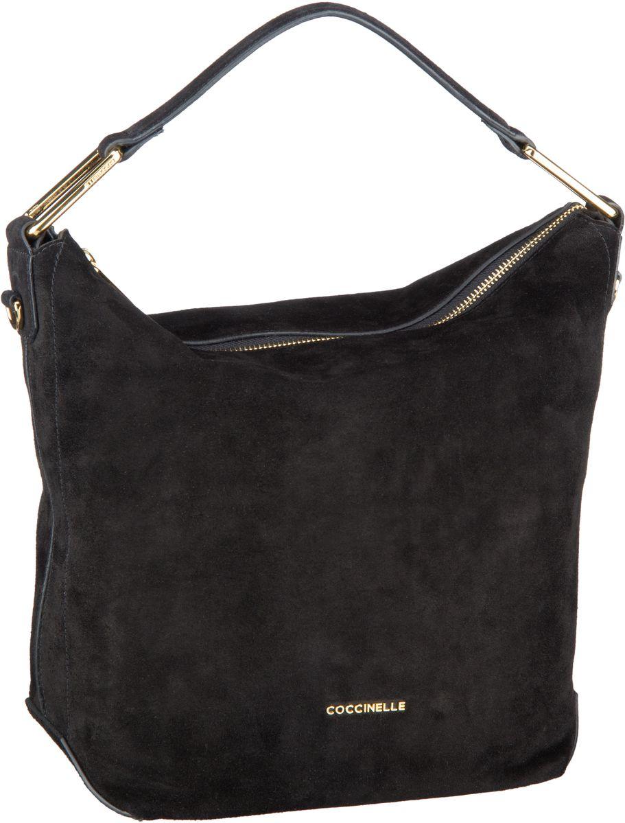 Handtaschen für Frauen - Coccinelle Handtasche Liya Suede 1301 Nero  - Onlineshop Taschenkaufhaus