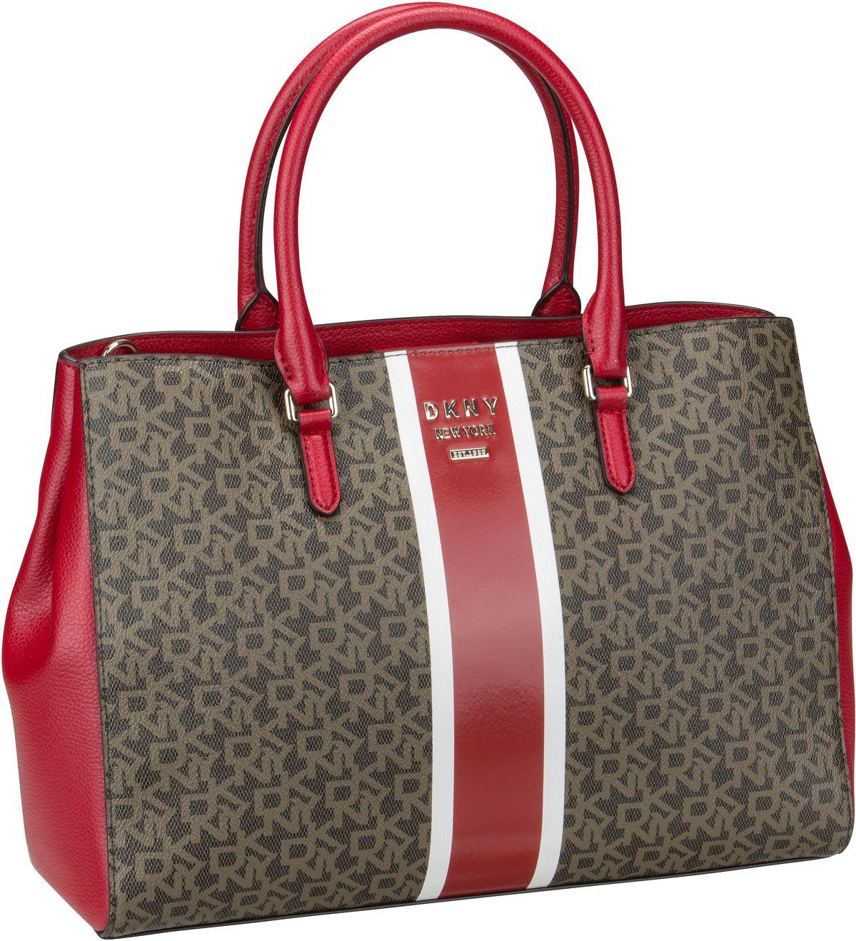 Shopper - DKNY Shopper Whitney Logo Stripe EW Tote Mocha Bright Red  - Onlineshop Taschenkaufhaus