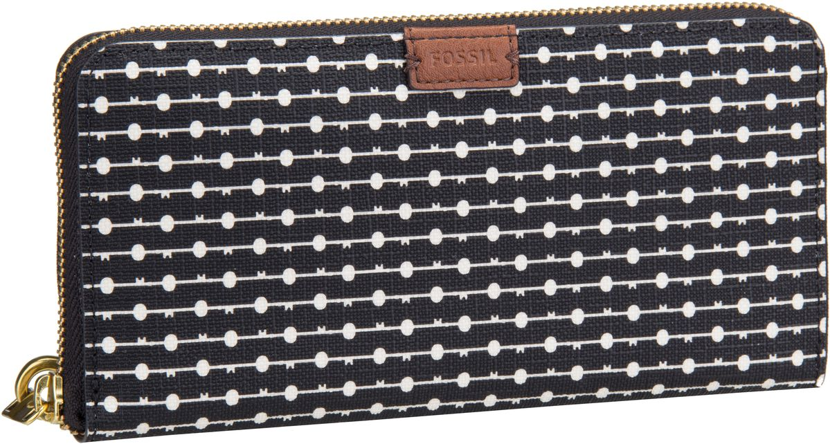 Emma RFID Large Zip Clutch Printed Black Stripe