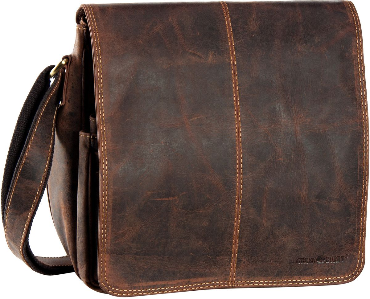 Umhängetasche Vintage Überschlagtasche Sattelbraun