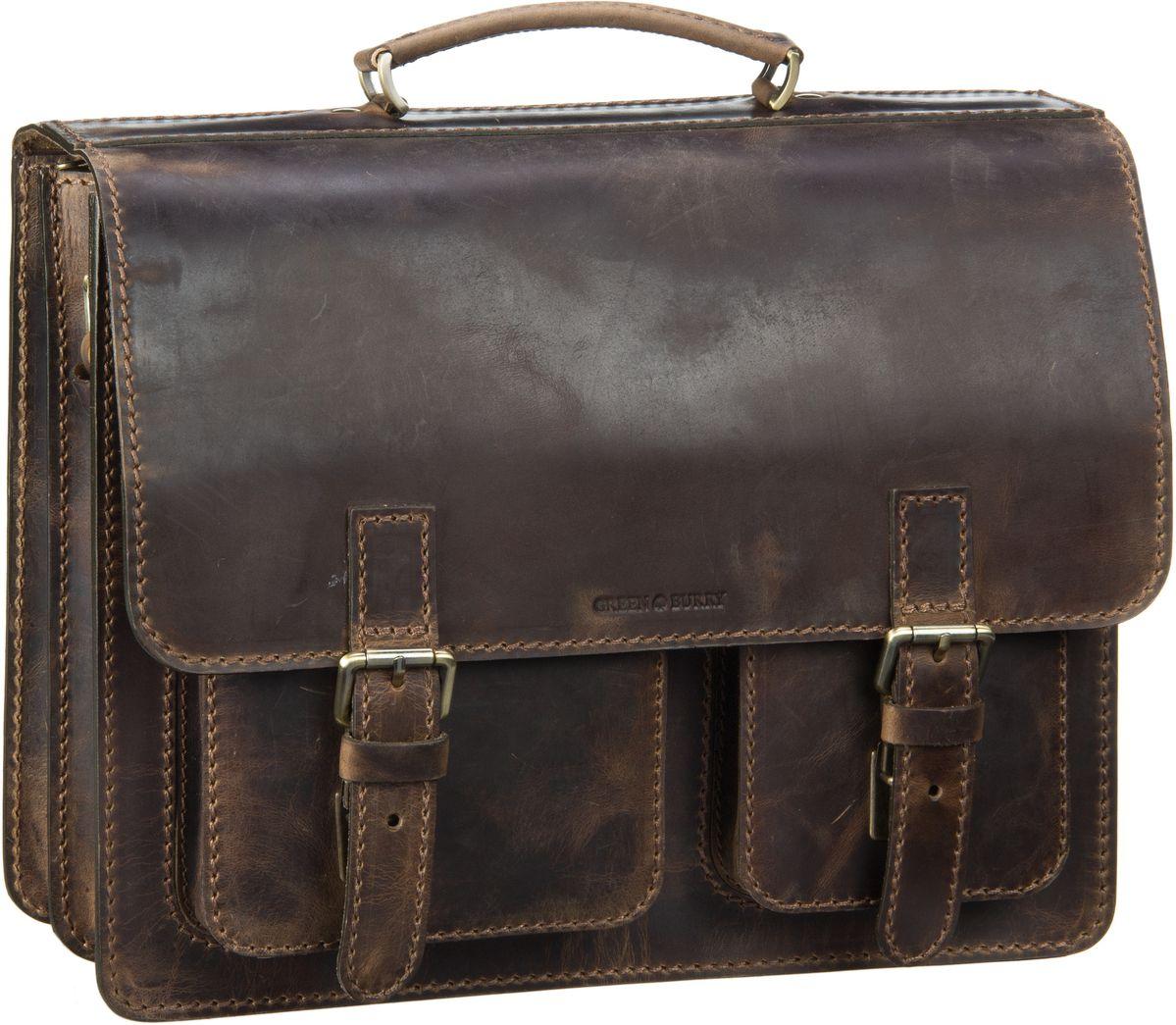 Businesstaschen für Frauen - Greenburry European Pullup 1028 Mappe Brown Aktentasche  - Onlineshop Taschenkaufhaus