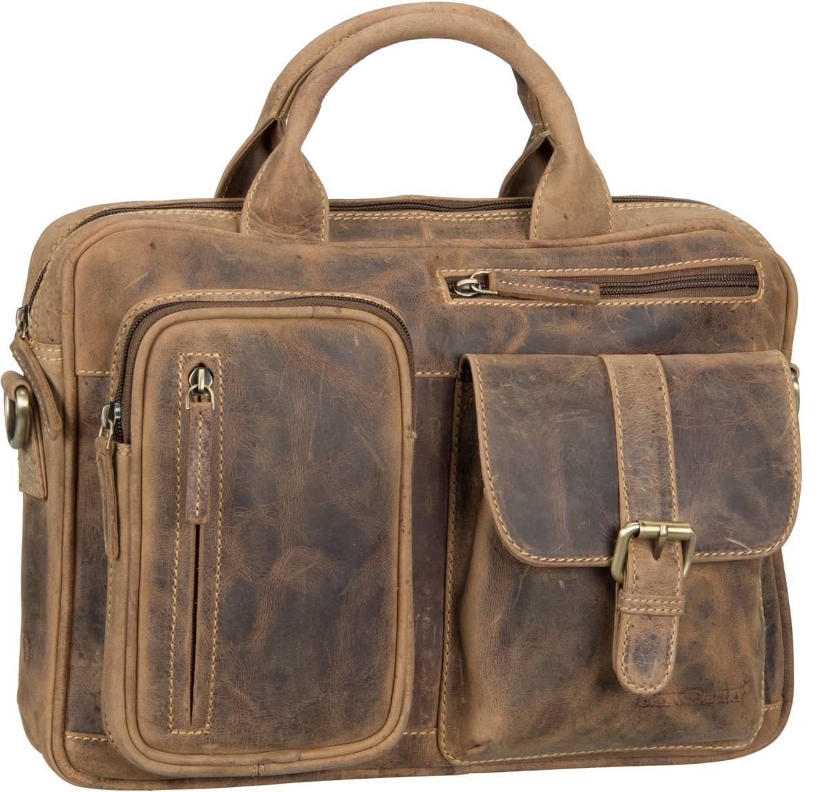 Businesstaschen für Frauen - Greenburry Aktentasche Vintage 1641 Businesstasche Brown  - Onlineshop Taschenkaufhaus