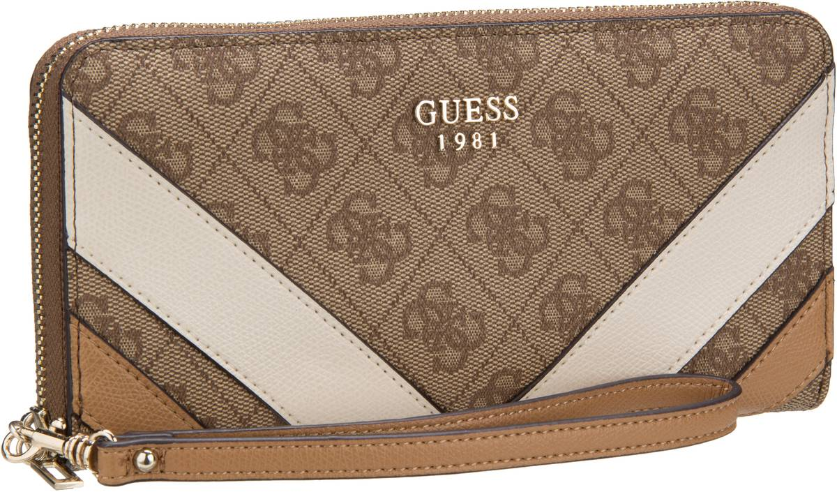 Guess Slater Large Zip Around Brown - Kellnerbörse