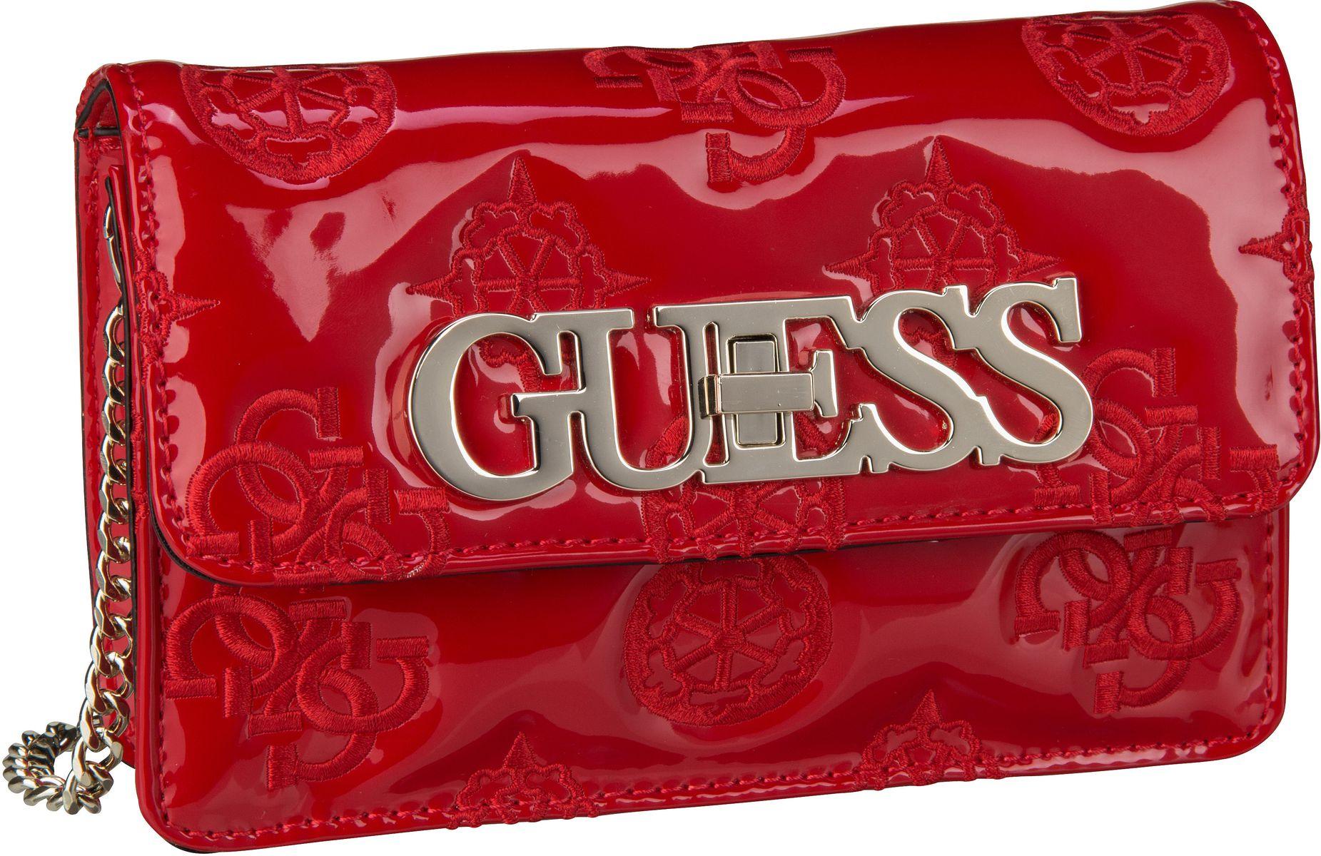 Clutches - Guess Abendtasche Clutch Guess Chic Mini Crossbody Flap Red  - Onlineshop Taschenkaufhaus