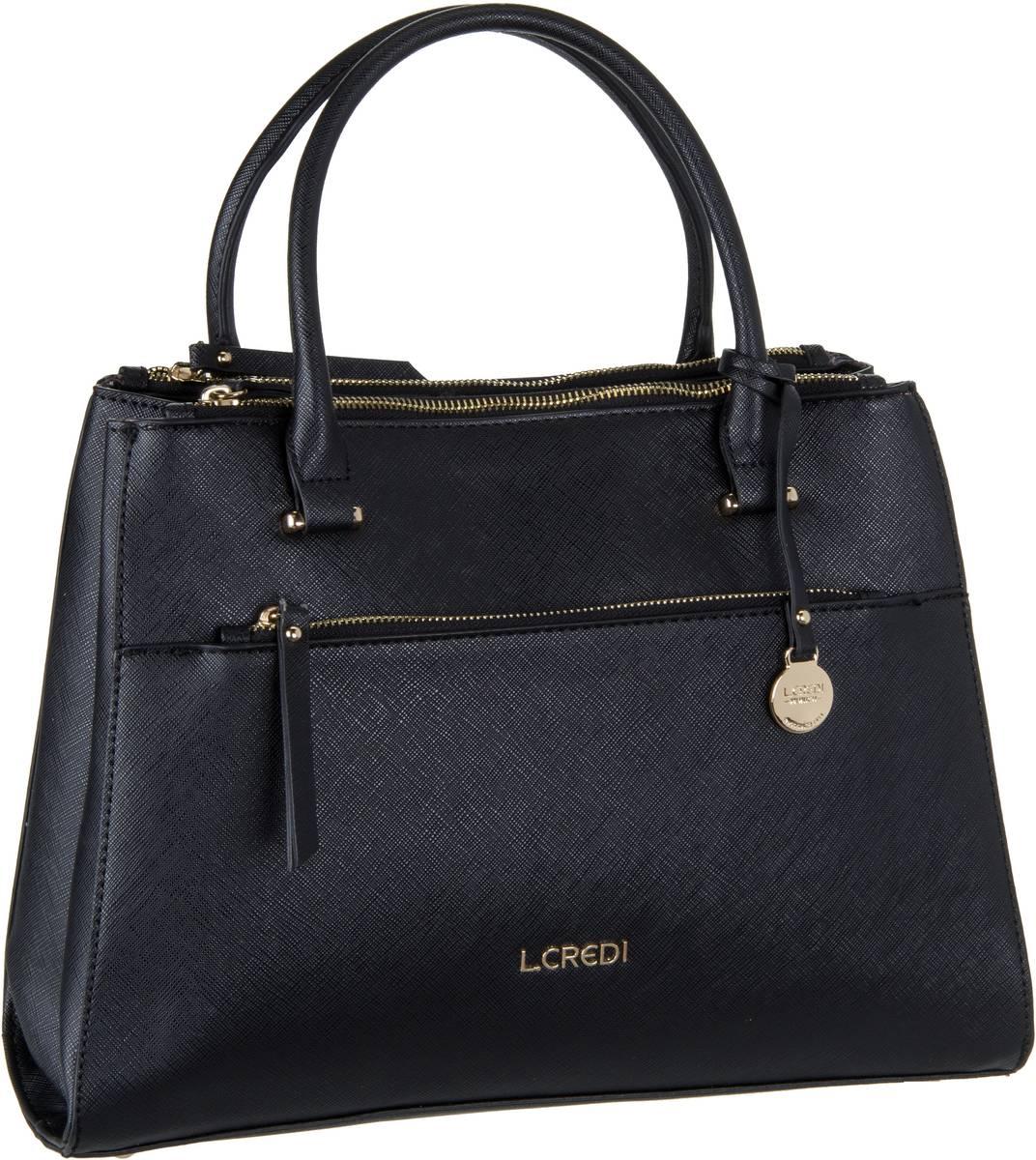 Handtaschen für Frauen - L.Credi Alba 7082 Schwarz Handtasche  - Onlineshop Taschenkaufhaus