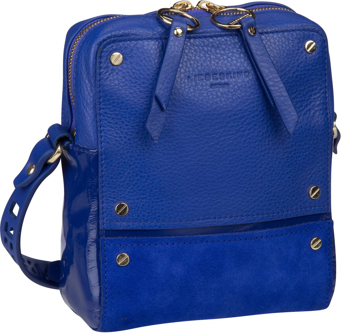 Berlin Umhängetasche Mix N'Patch Suede Crossbody S Deep Blue