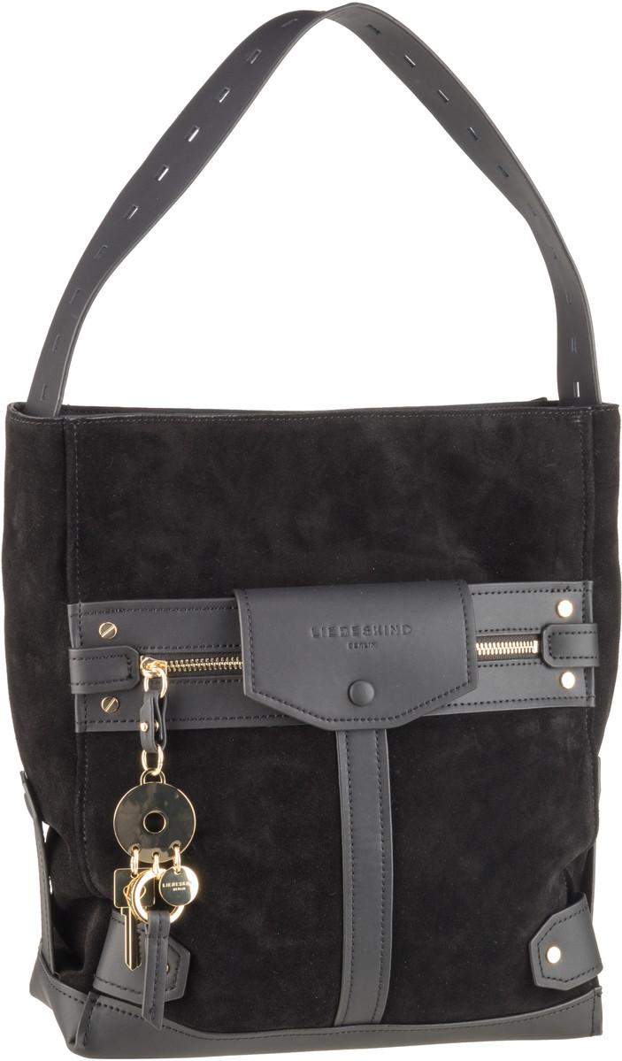 Berlin Handtasche Neo Casual Pocket Hobo M Suede Black