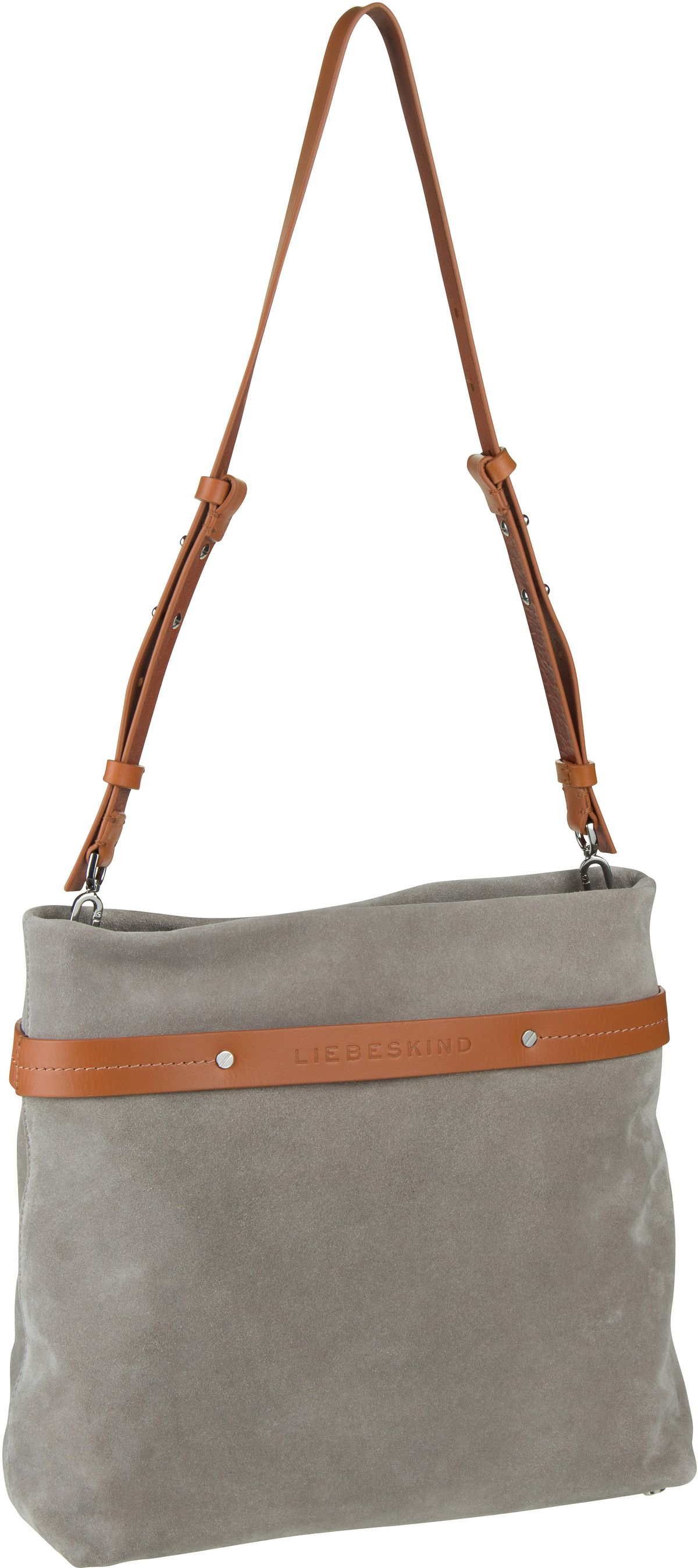 Berlin Handtasche SoShopper Hobo M Suede String Grey