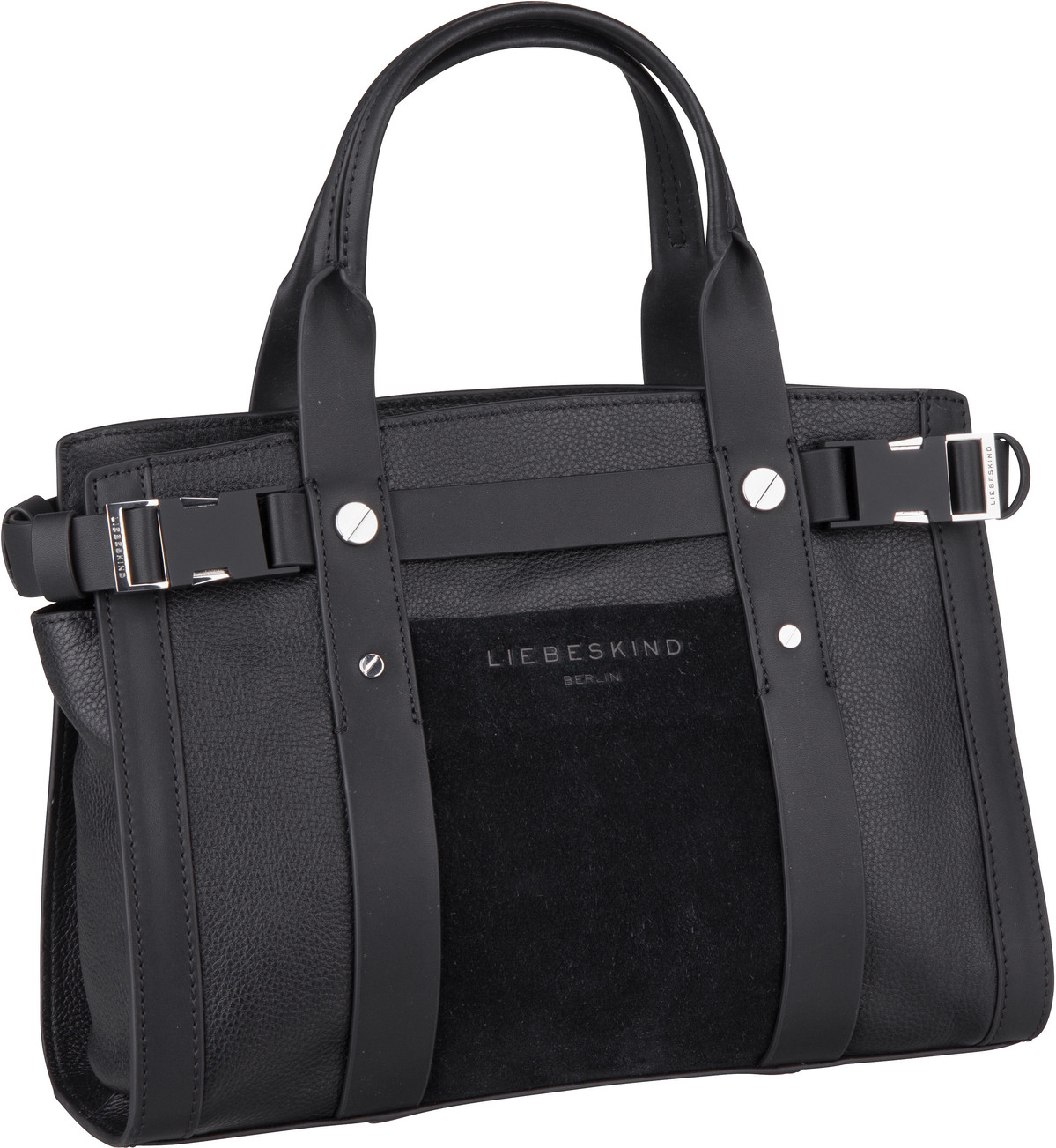 Berlin Handtasche Sporty Satchel M Suede Black