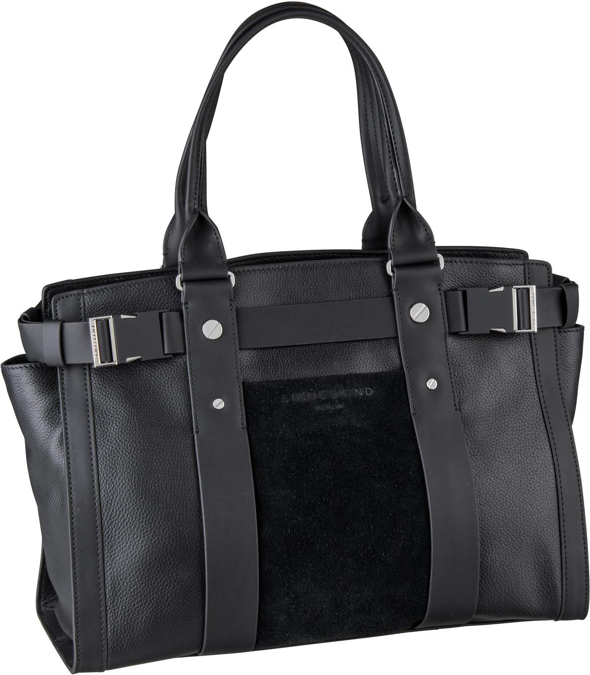 Berlin Handtasche Sporty Satchel L Suede Black