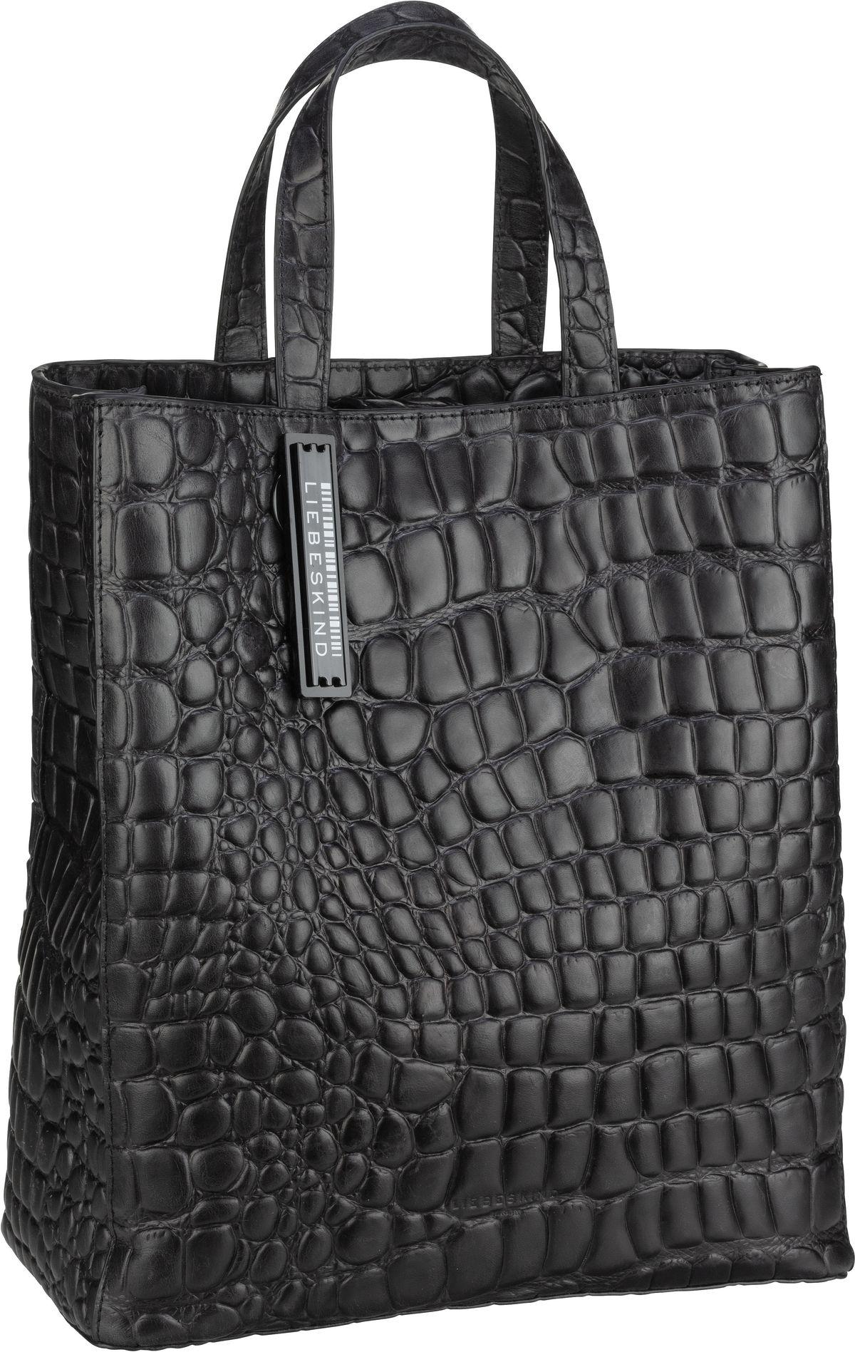 Berlin Shopper Paper Bag Croco Tote M Black