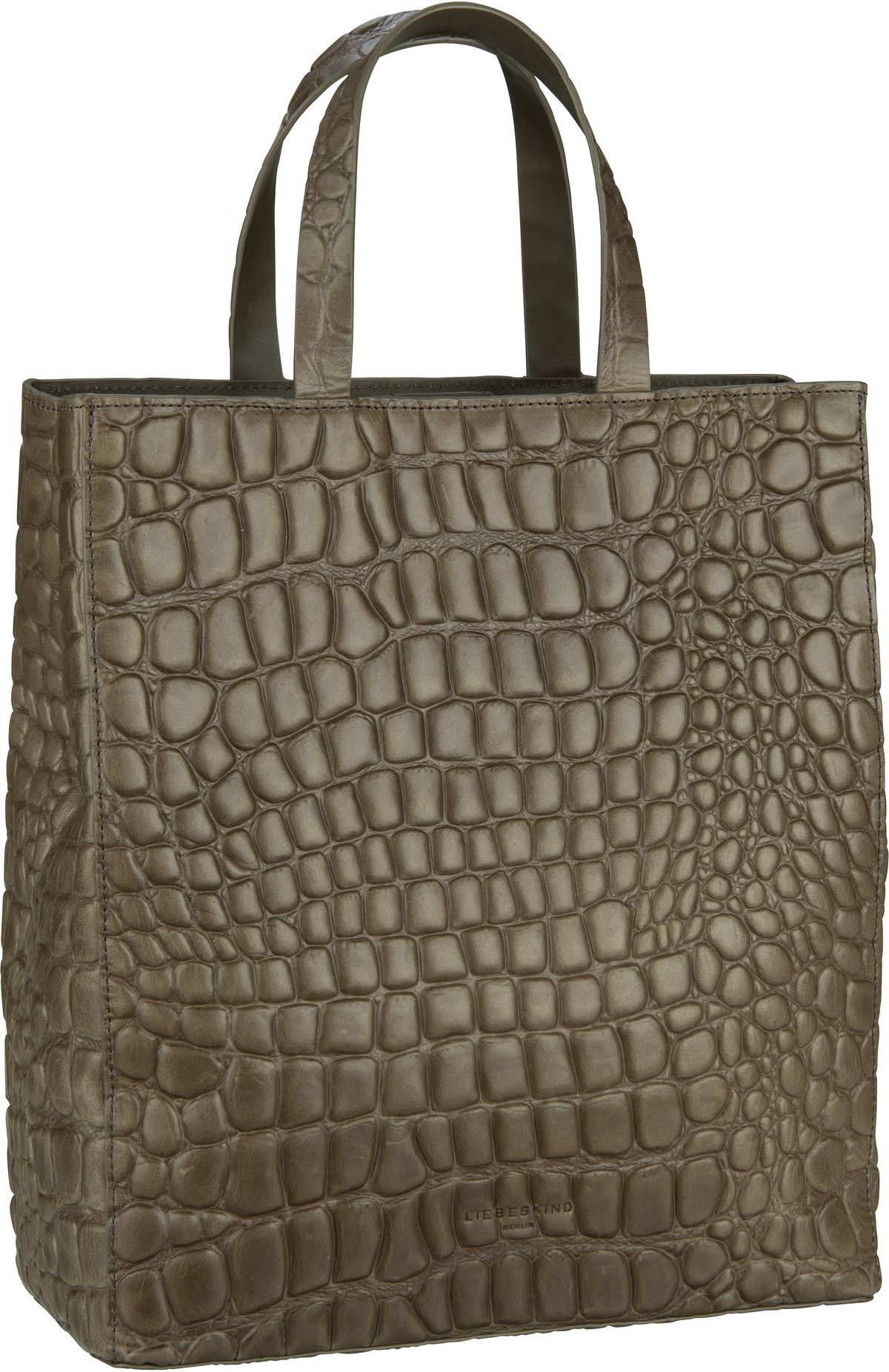 Berlin Shopper Paper Bag Croco Tote M Dark Olive Green