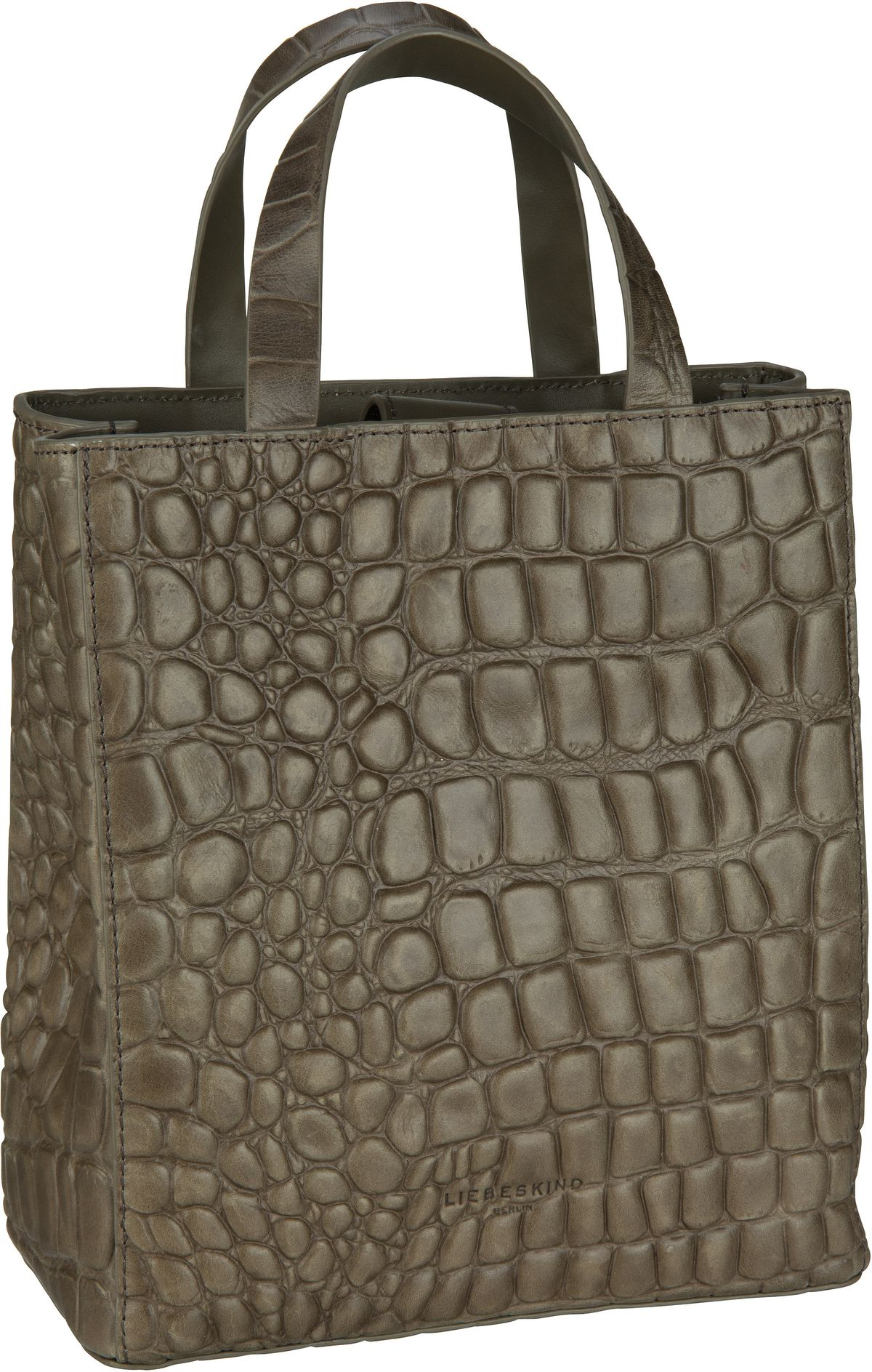 Berlin Handtasche Paper Bag Croco Tote S Dark Olive Green