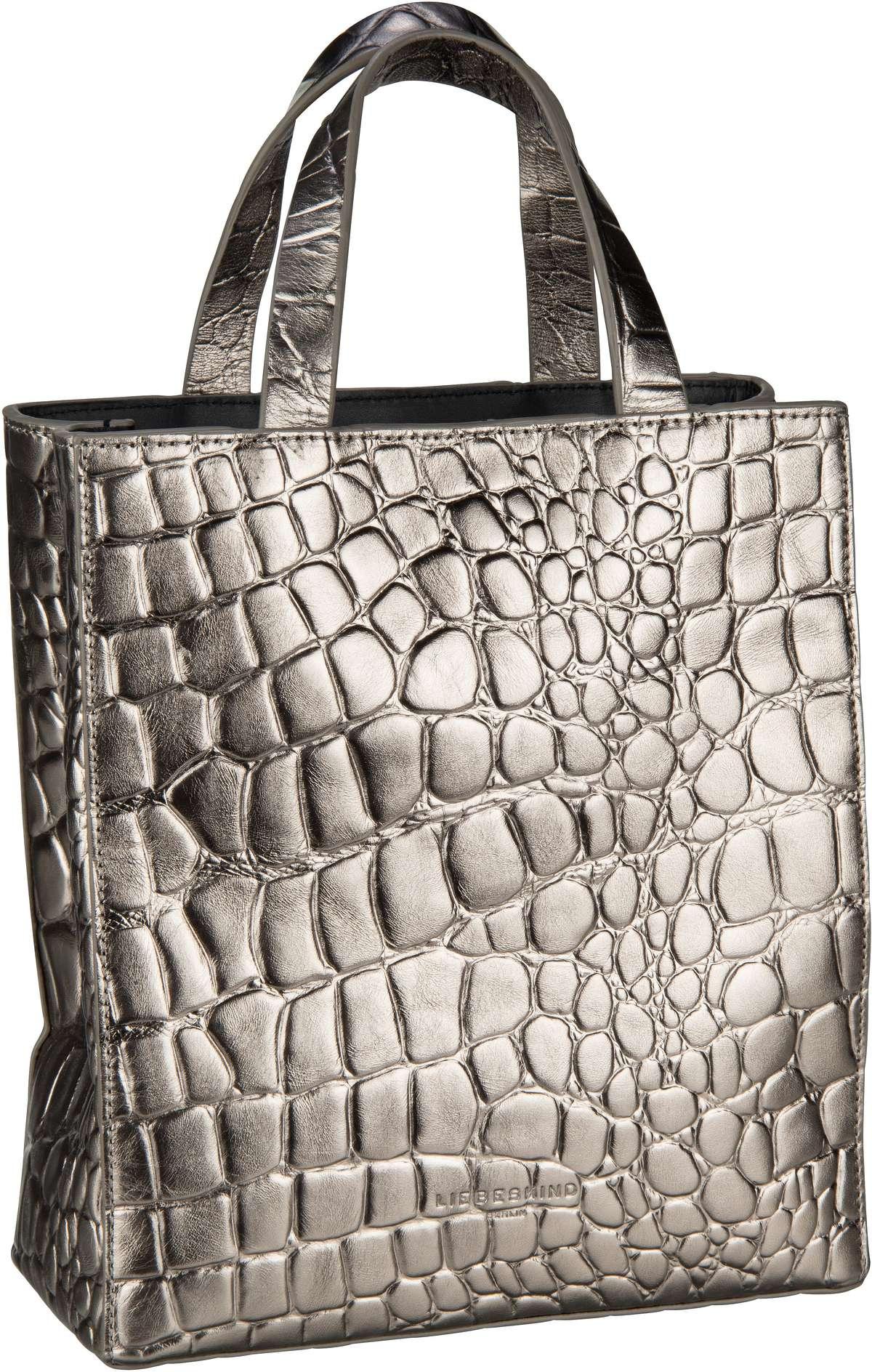 Berlin Handtasche Paper Bag Croco Tote S Warm Silver