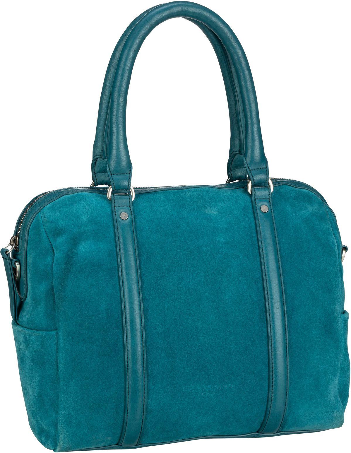Berlin Handtasche Oak Bowling Bag M Suede Dragonfly Petrol