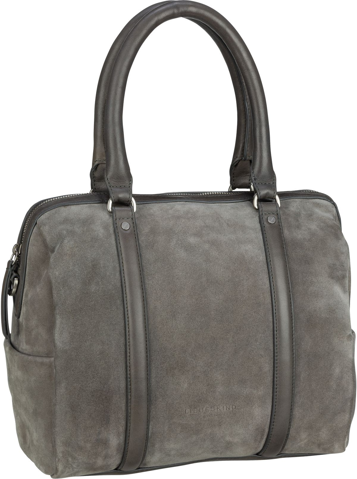 Berlin Handtasche Oak Bowling Bag M Suede Gun Grey