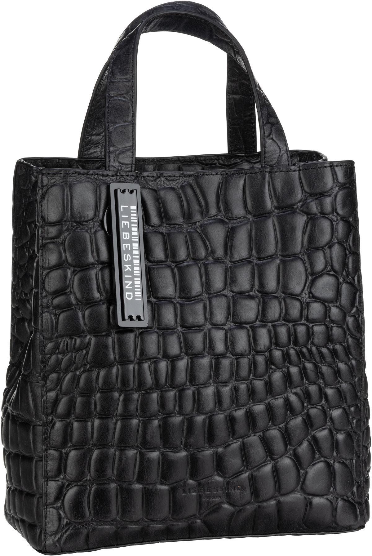 Berlin Handtasche Paperbag S20 Waxy Croco Black