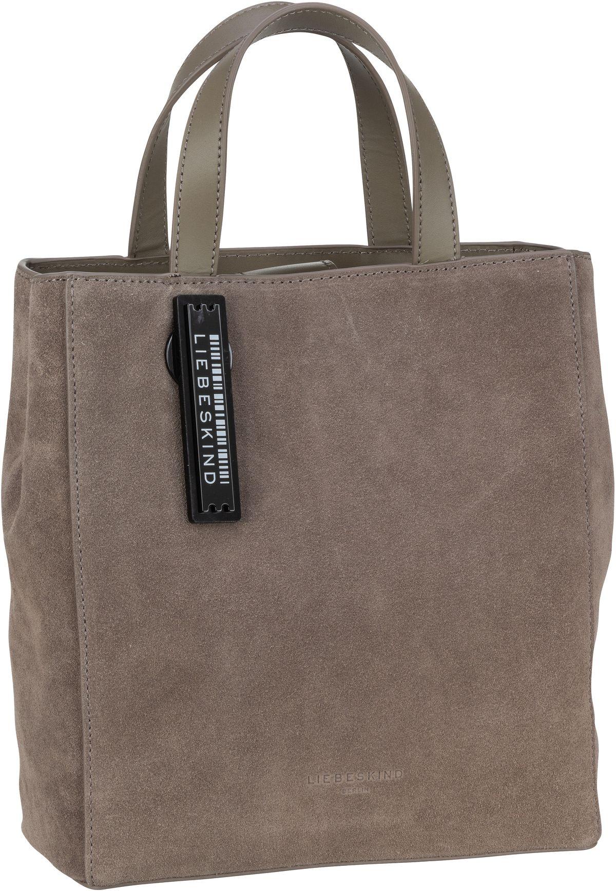 Berlin Handtasche Paper Bag S Suede Light Cement