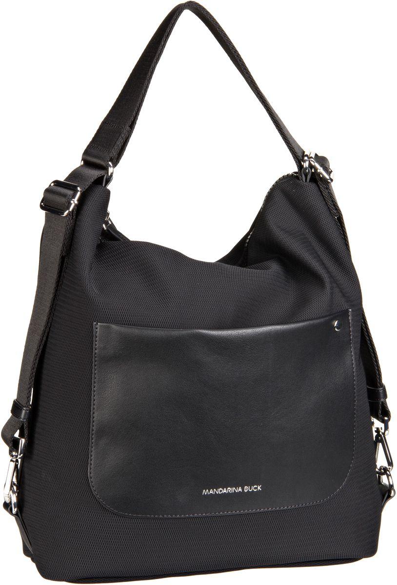 Handtaschen für Frauen - Mandarina Duck Handtasche Camden Small Hobo Black (innen Orange)  - Onlineshop Taschenkaufhaus