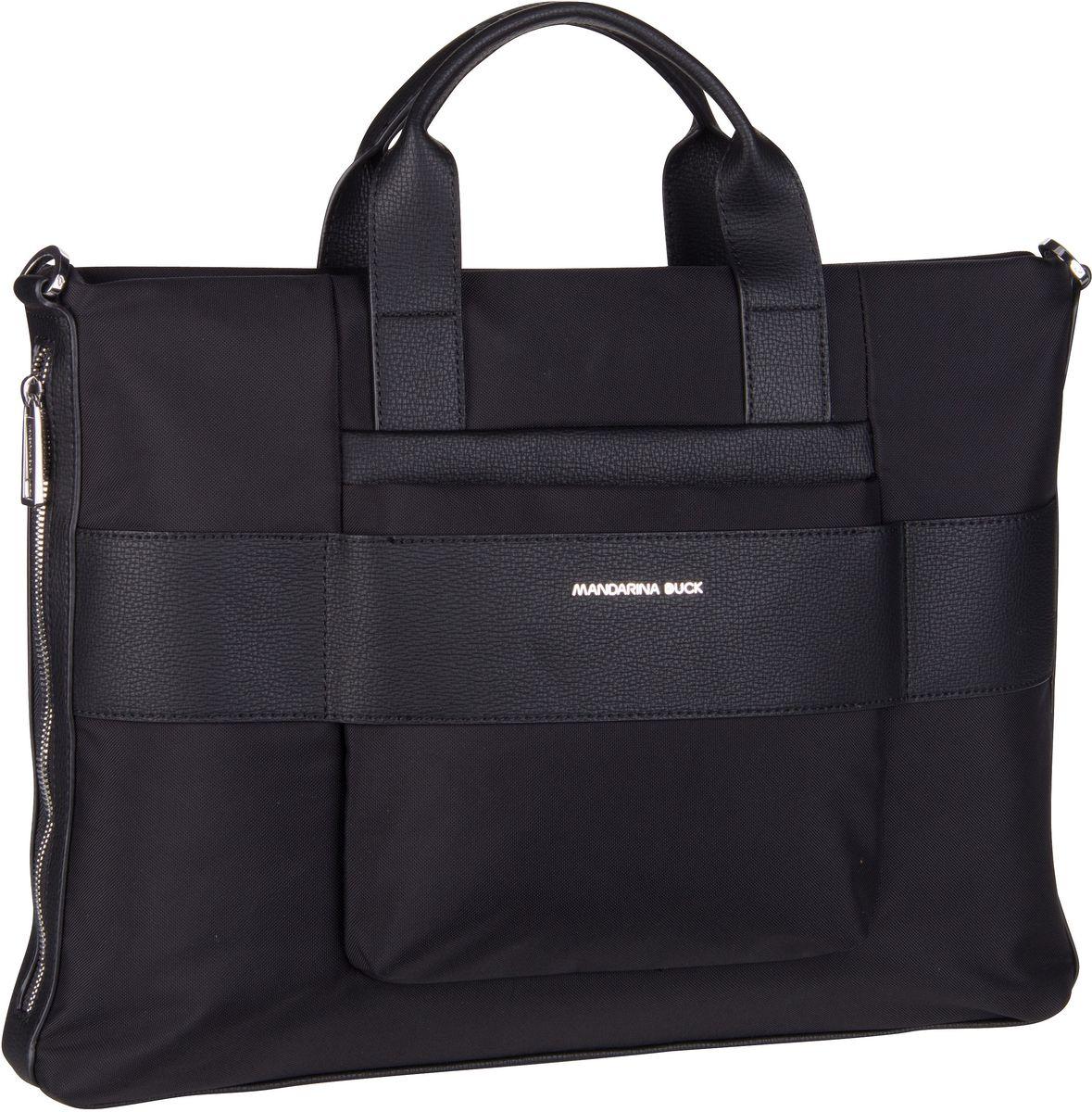 Businesstaschen für Frauen - Mandarina Duck Aktenmappe Boston Slim Briefcase UTT01 Black  - Onlineshop Taschenkaufhaus
