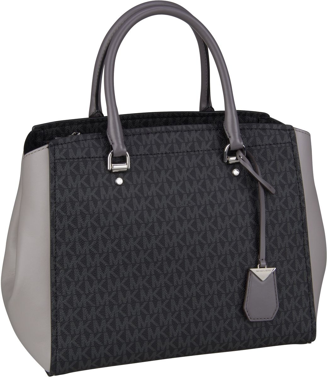 Michael Kors Handtasche Benning Large Satchel MK Signature Grey Multi
