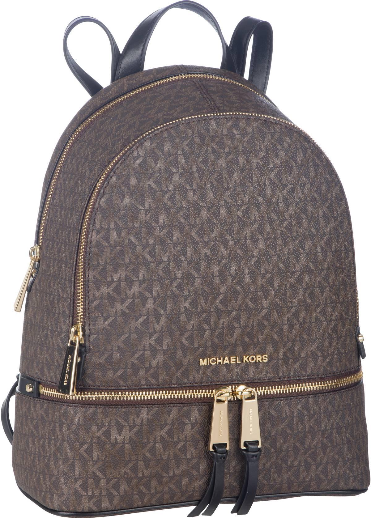 Rucksaecke - Michael Kors Rucksack Daypack Rhea Zip Medium Backpack MK Signature Brown Black  - Onlineshop Taschenkaufhaus