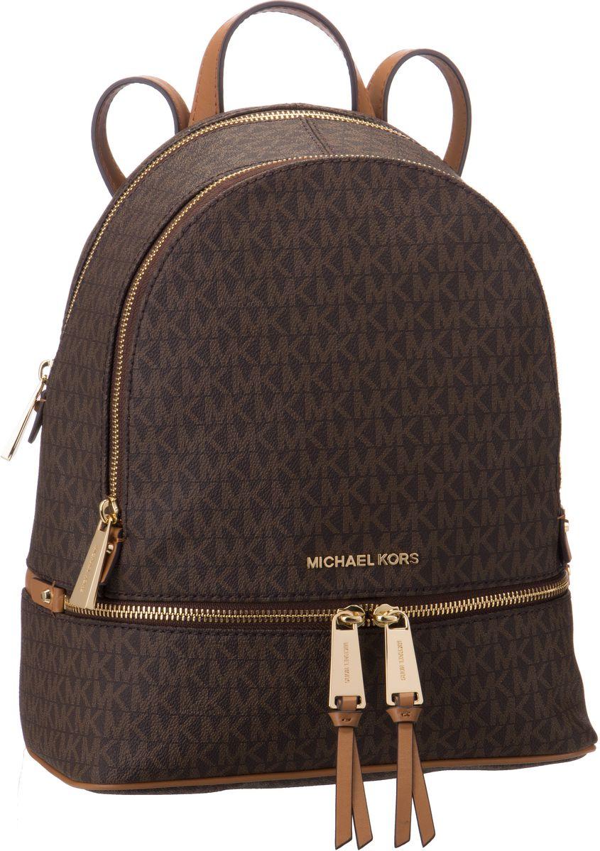 Rucksaecke - Michael Kors Rucksack Daypack Rhea Zip Medium Backpack MK Signature Brown Acorn  - Onlineshop Taschenkaufhaus