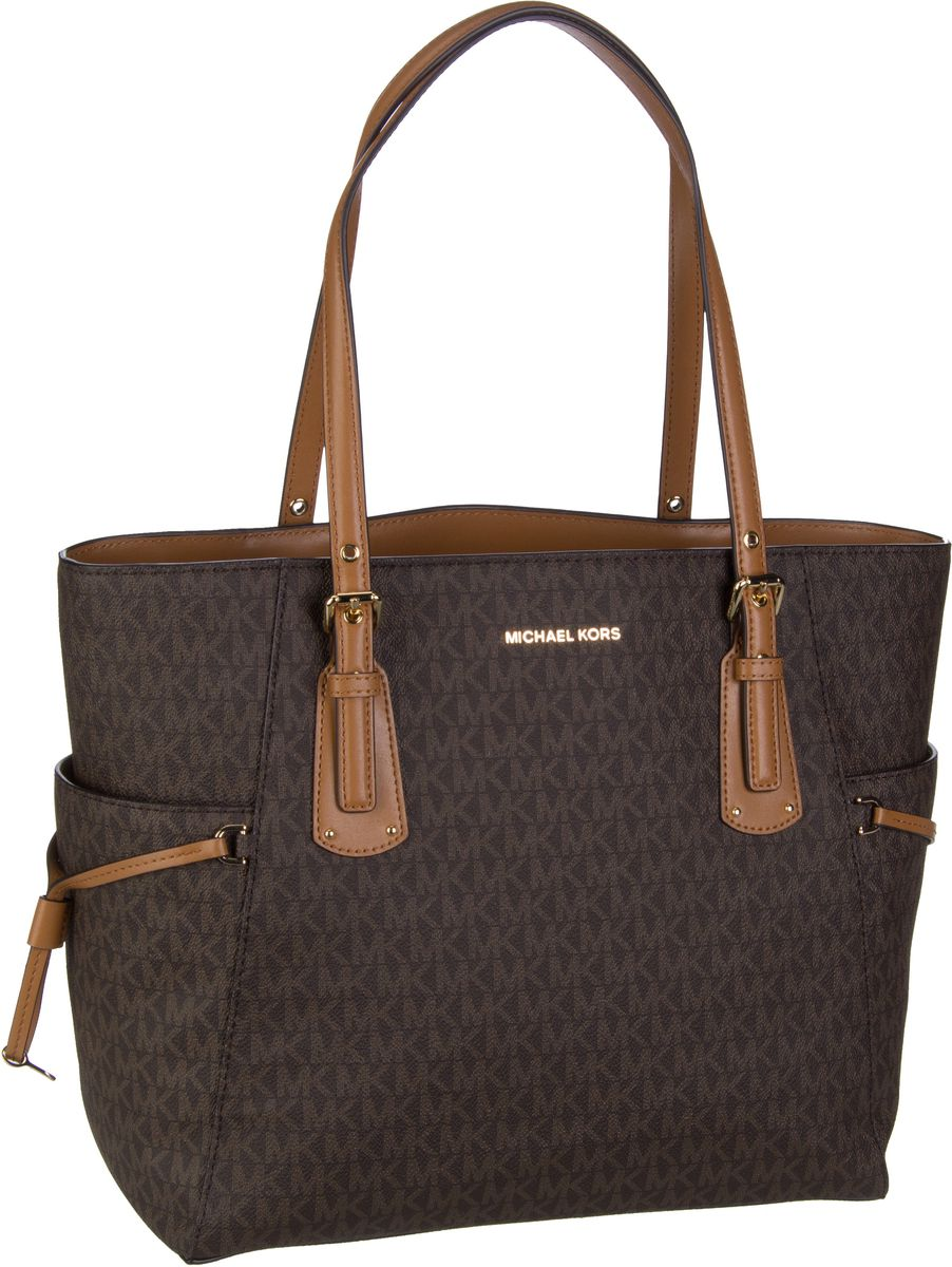Michael Kors Handtasche Voyager EW Signature Tote Coated Twill Brown