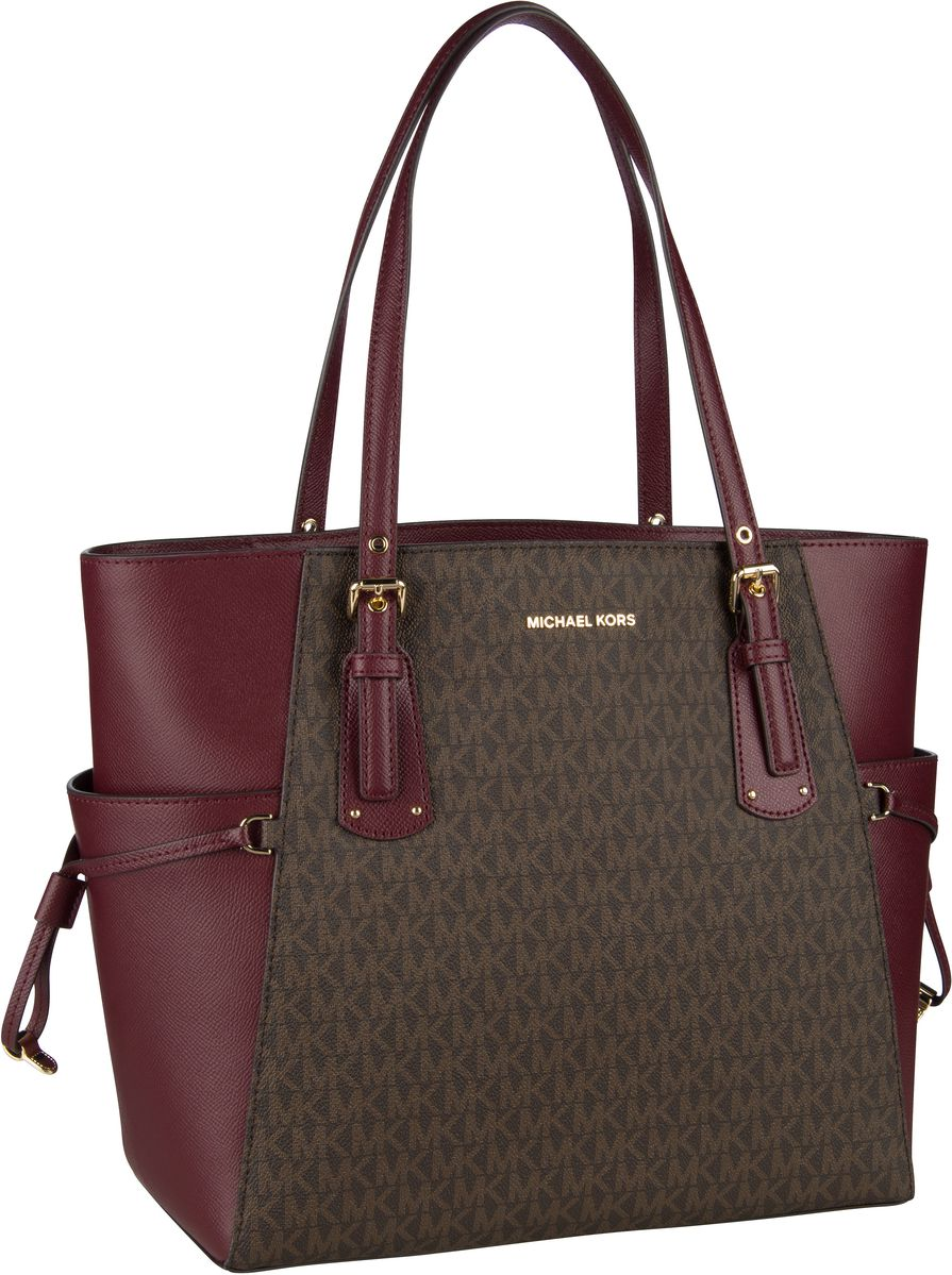 Michael Kors Handtasche Voyager EW Signature Tote Coated Twill Oxblood