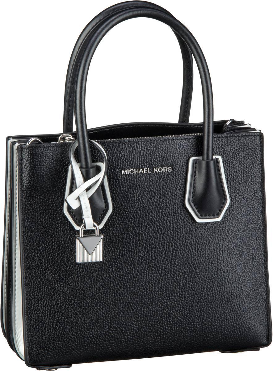 Handtaschen für Frauen - Michael Kors Handtasche Mercer Medium Accordion Messenger Black Optic White  - Onlineshop Taschenkaufhaus