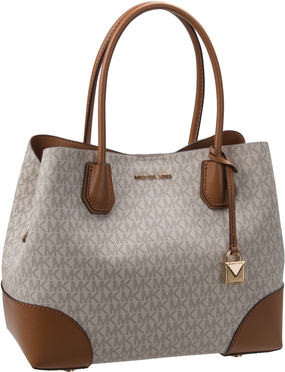 Michael Kors Handtasche Mercer Gallery Medium Center Zip Tote MK Signature Vanilla/Acorn