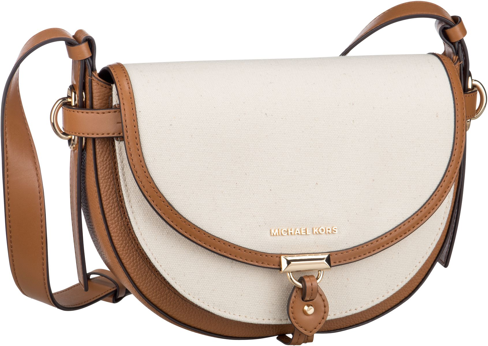 Michael Kors Umhängetasche Mara Medium Saddle Bag Canvas Natural