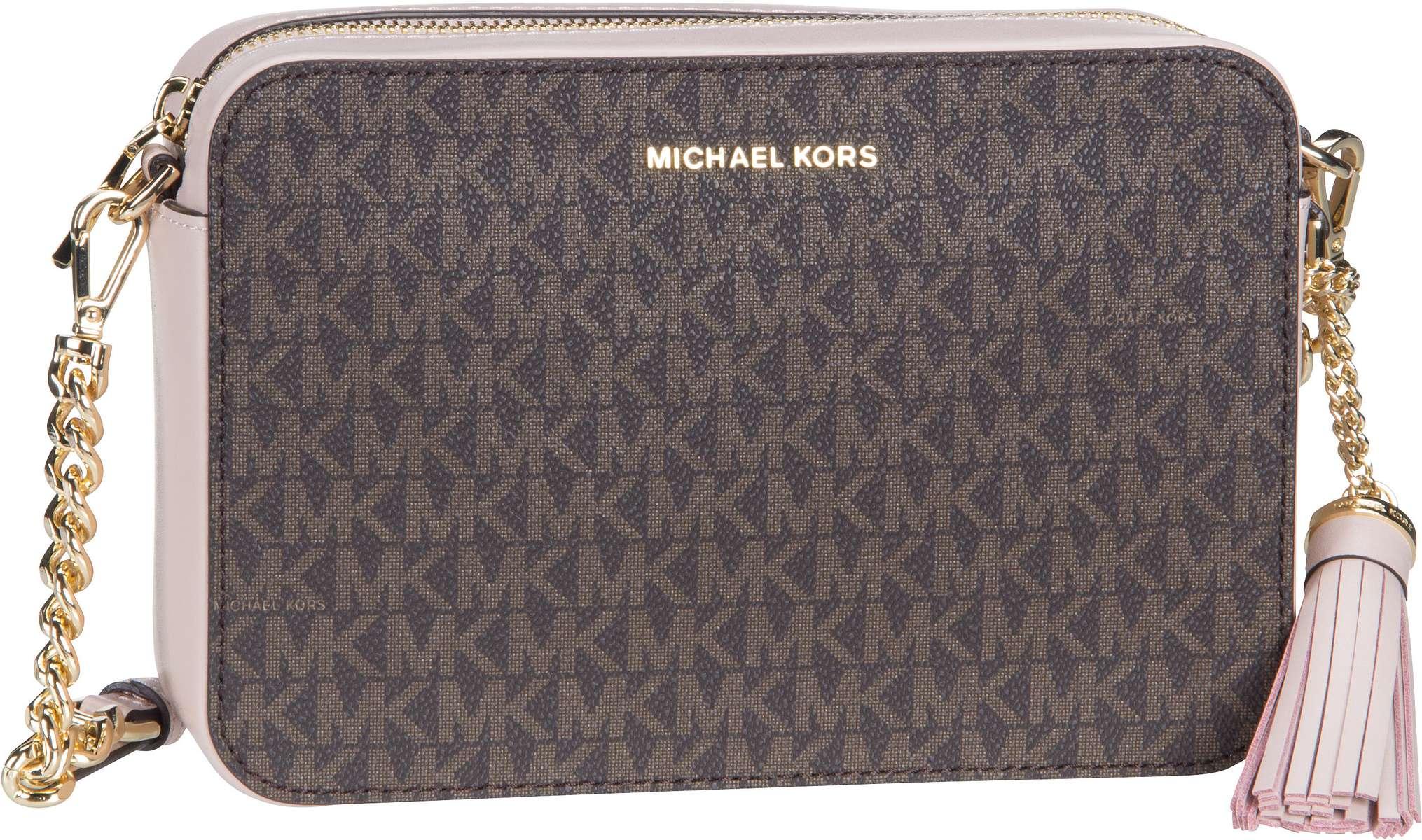 Michael Kors Umhängetasche Jet Set Medium Camera Bag MK Signature Brown/Soft Pink