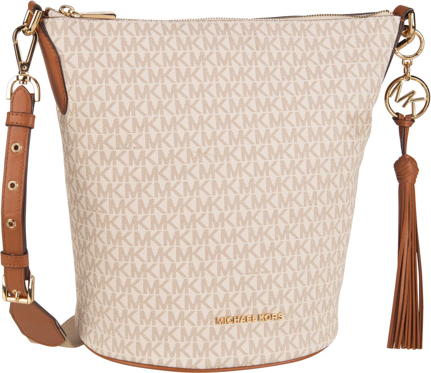 Michael Kors Umhängetasche Brooke Medium Zip Bucket Vanilla/Acorn